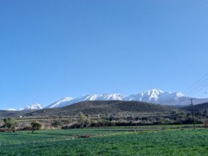 Late August snowy mountains